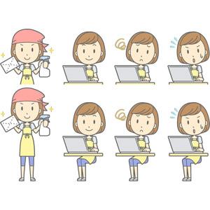 フリーイラスト, ベクター画像, AI, 人物, 女性, 女性(00193), 主婦, 母親(お母さん), エプロン, 掃除(清掃), 拭き掃除, 雑巾, パソコン(PC), ノートパソコン, 困る, 焦る