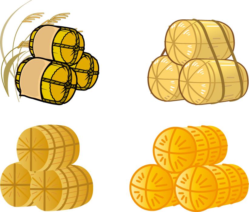 フリーイラスト 4種類の米俵のセット