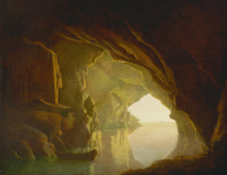 フリー絵画 ジョセフ・ライト作「夕暮れのサレルノ湾の洞窟」