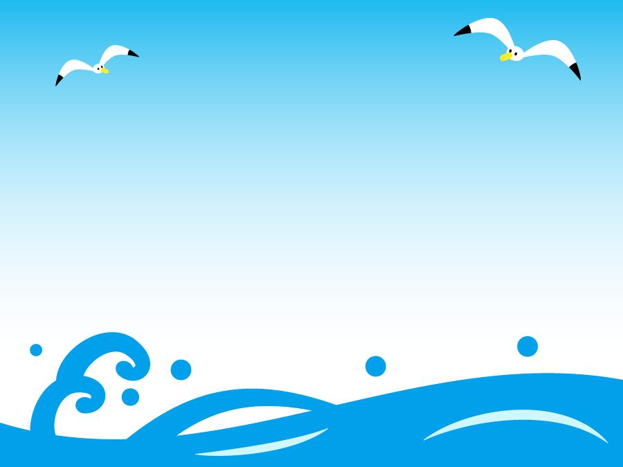 フリーイラスト 夏の海とカモメ