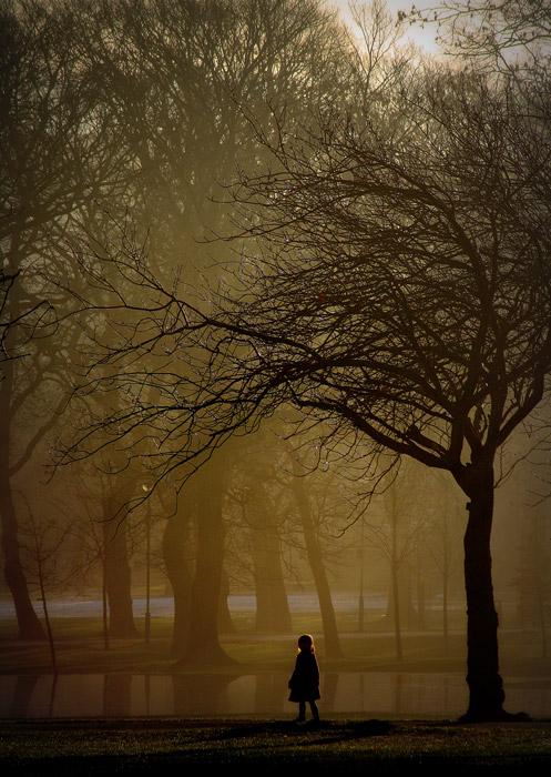 フリー写真 霧のかかる公園と女の子