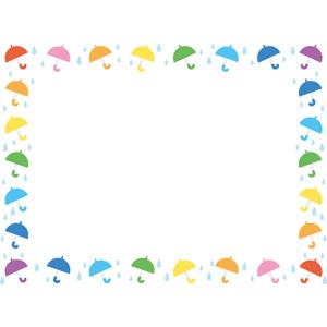 フリーイラスト, ベクター画像, EPS, 背景, フレーム, 囲みフレーム, 梅雨, 6月, 傘, 雨, カラフル