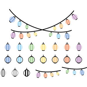 フリーイラスト, ベクター画像, EPS, 照明器具, 提灯, お祭り, カラフル