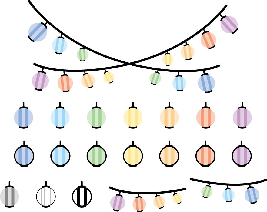 フリーイラスト カラフルな提灯のセット