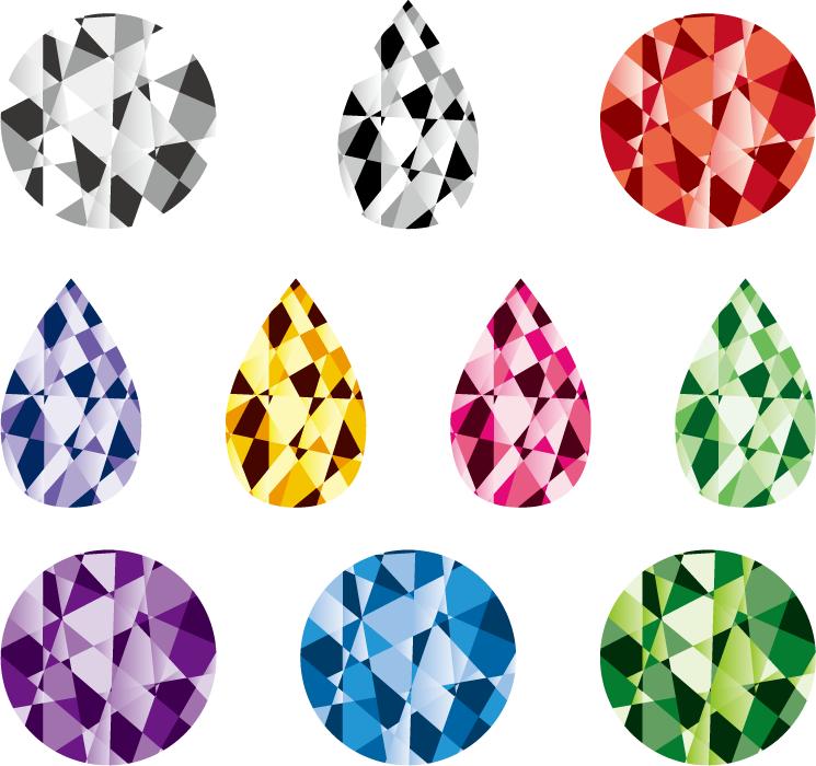 フリーイラスト 10種類の宝石のセット