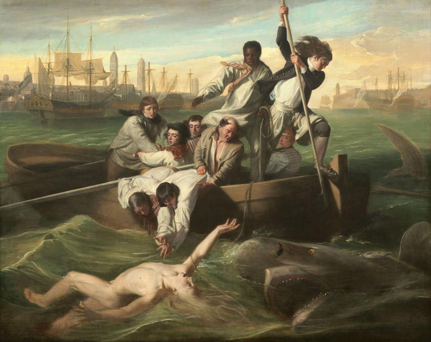 フリー絵画 ジョン・シングルトン・コプリー作「ワトソンとサメ」