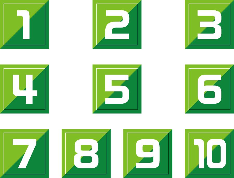 フリーイラスト 緑色の数字のセット