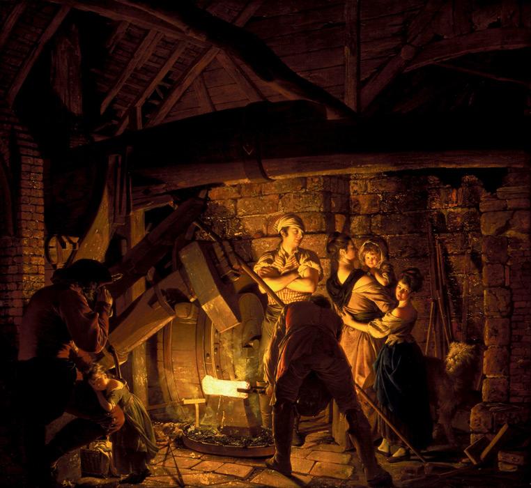 フリー絵画 ジョセフ・ライト作「鉄工場」