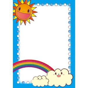 フリーイラスト, ベクター画像, EPS, 背景, フレーム, 囲みフレーム, 太陽, 雲, 虹, 天気, 晴れ