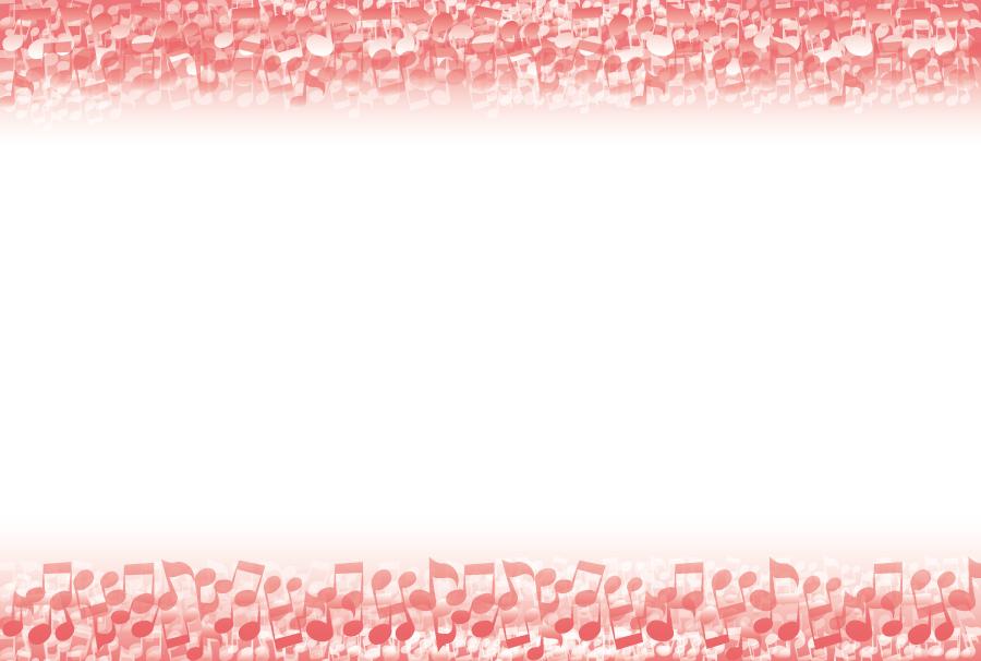 フリーイラスト 赤色の音符のフレーム