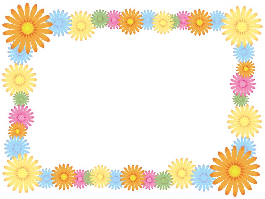 フリーイラスト カラフルな花のフレーム