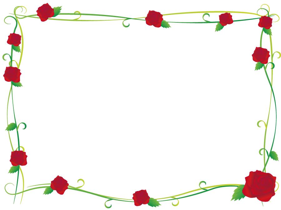 フリーイラスト 薔薇の花の飾り枠