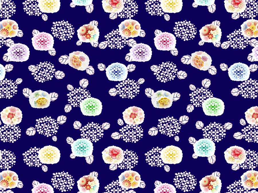 フリーイラスト 和風のあじさいの花柄の背景