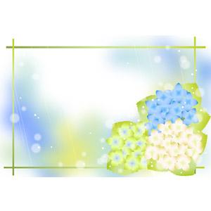 フリーイラスト, ベクター画像, AI, 背景, フレーム, 囲みフレーム, 植物, 花, 紫陽花(アジサイ), 6月, 梅雨, 雨
