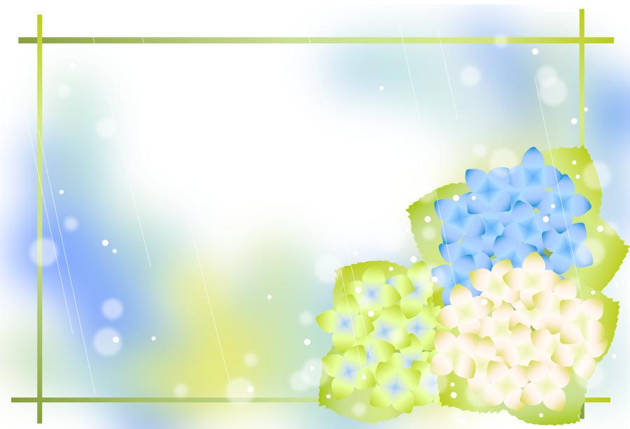 フリーイラスト 紫陽花の花と雨のフレーム