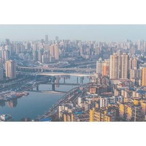 フリー写真, 風景, 建造物, 建築物, 高層ビル, 都市, 街並み(町並み), 河川, 鉄橋, 中国の風景, 重慶市, 橋
