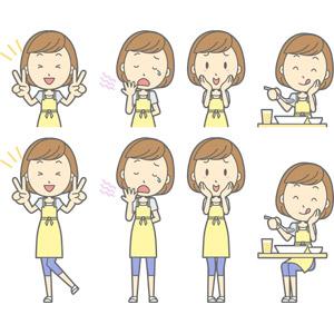 フリーイラスト, ベクター画像, AI, 人物, 女性, 女性(00193), 主婦, 母親(お母さん), エプロン, ピースサイン, 欠伸(あくび), 照れる, 頬に手を当てる, 食事, 食べる, 舐める