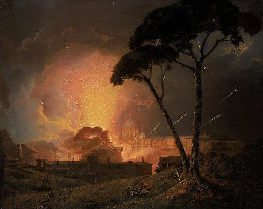 フリー絵画 ジョセフ・ライト作「ローマのサンタンジェロ城の回転花火」