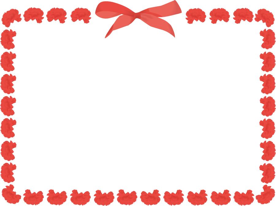 フリーイラスト カーネーションの花とリボンの母の日の飾り枠