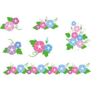 フリーイラスト, ベクター画像, AI, 植物, 花, 朝顔(アサガオ), 夏, 飾り罫線(ライン)