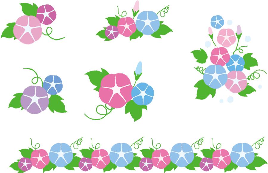 フリーイラスト 6種類のあさがおの花のセット
