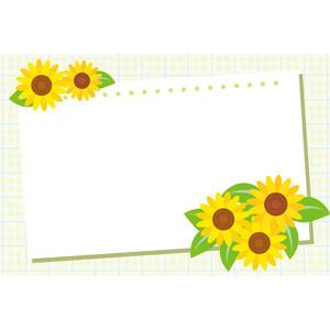 フリーイラスト, ベクター画像, AI, 背景, フレーム, 囲みフレーム, 画用紙, 花, 向日葵(ヒマワリ), 黄色の花, 夏
