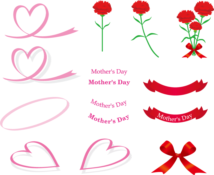フリーイラスト カーネーションやリボンなどの母の日関連のセット