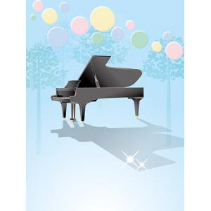 フリーイラスト, ベクター画像, EPS, 背景, 音楽, 楽器, 鍵盤楽器, ピアノ, 円形(サークル), 樹木
