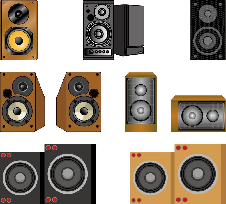 フリーイラスト 7種類のスピーカーのセット