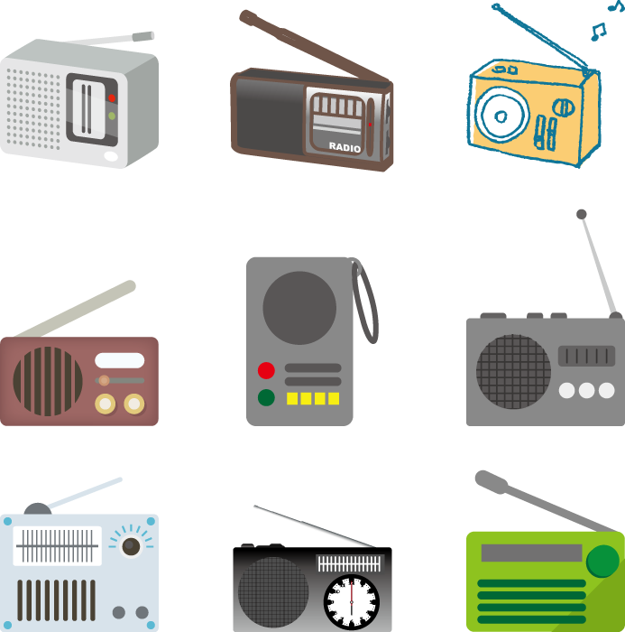 フリーイラスト 9種類のラジオのセット