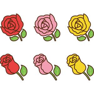 フリーイラスト, ベクター画像, AI, 植物, 花, 薔薇(バラ), 赤色の花, ピンク色の花, 黄色の花, 父の日