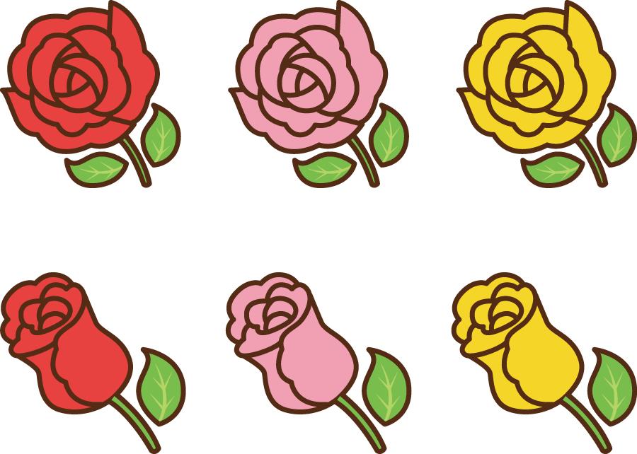 フリーイラスト 赤色とピンク色と黄色の薔薇の花のセット