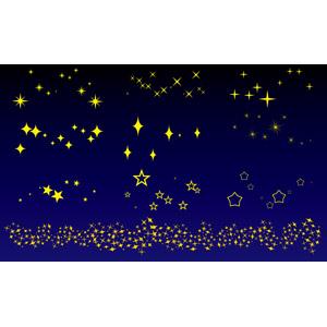 フリーイラスト, ベクター画像, AI, 星(スター), 天の川, 夜, 飾り罫線(ライン)