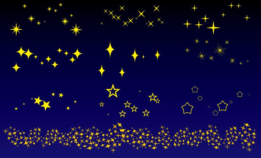 フリーイラスト 夜空に輝く星のセット
