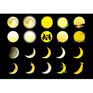 フリーイラスト, ベクター画像, AI, 月, 満月, 三日月, 天体, 夜, 月の兎, 餅つき, 9月, お月見(観月)