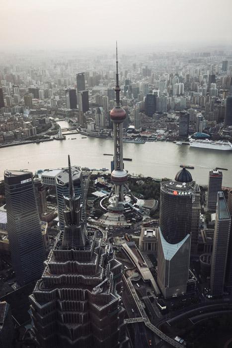 フリー写真 上海タワーのある上海の都市の風景