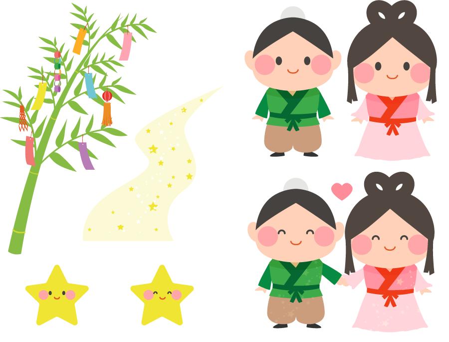 フリーイラスト 織姫と彦星と天の川と笹飾りのセット