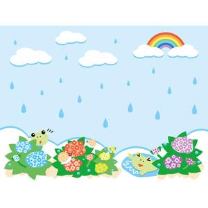 フリーイラスト, ベクター画像, EPS, 背景, 梅雨, 6月, 雨, 虹, 紫陽花(アジサイ), 蛙(カエル), カタツムリ