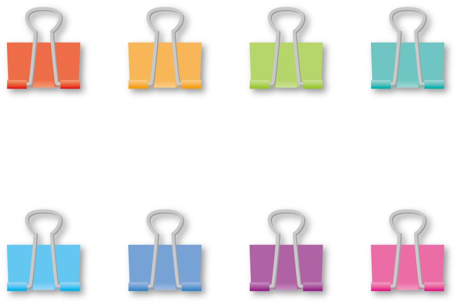 フリーイラスト 8種類のダブルクリップのセット