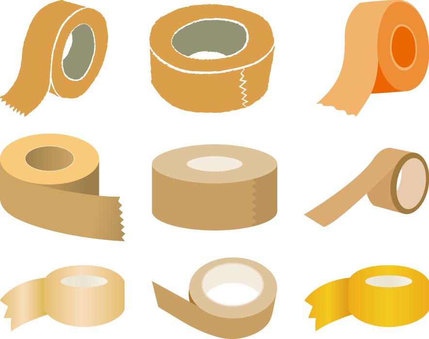 フリーイラスト 9種類のガムテープのセット