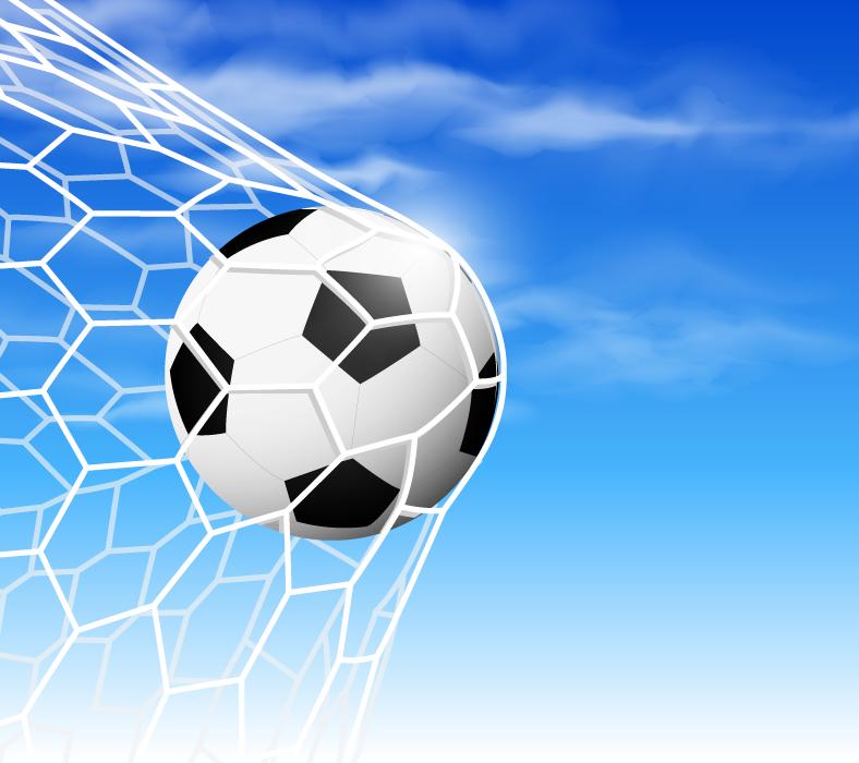 フリーイラスト ゴールネットに突き刺さるサッカーボール