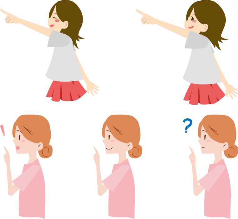 フリーイラスト 5種類の指差す少女と女性のセット
