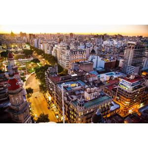 フリー写真, 風景, 建造物, 建築物, 高層ビル, 都市, 夕暮れ(夕方), アルゼンチンの風景, ブエノスアイレス