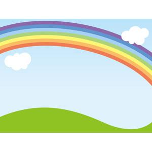 フリーイラスト, ベクター画像, AI, 風景, 自然, 青空, 虹, 丘