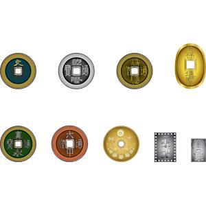 フリーイラスト, ベクター画像, AI, 古銭, 銀貨, 銅貨, 硬貨, お金