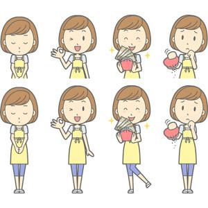 フリーイラスト, ベクター画像, AI, 人物, 女性, 女性(00193), 主婦, 母親(お母さん), エプロン, お辞儀, 頭を下げる, 謝罪, 謝る(ゴメン), OKサイン, お金持ち, お金, 財布, 貧乏