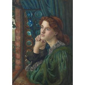 フリー絵画, マリー・スパルタリ・スティルマン, 物語画, 女性, 外国人女性, 憂鬱, 手を組む, 眺める, 窓辺
