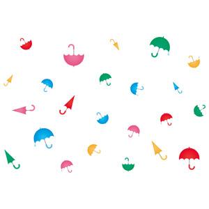 フリーイラスト, ベクター画像, AI, 背景, 傘, カラフル, 梅雨, 6月