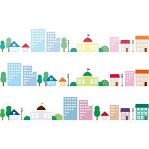 フリーイラスト, ベクター画像, AI, 飾り罫線(ライン), 街(町), 街並み(町並み), 街灯