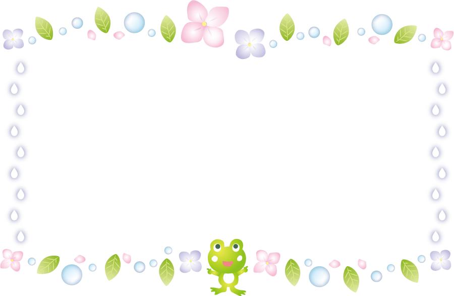 フリーイラスト カエルとアジサイと雨のフレーム